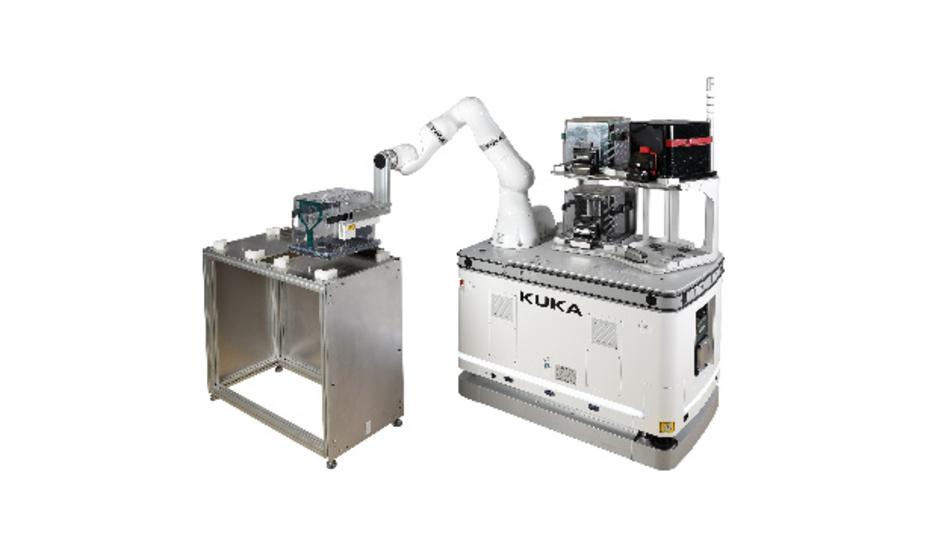 Die »Kuka Wafer Handling Solution« auf Roboterbasis eignet sich für die Reinraumfertigung.