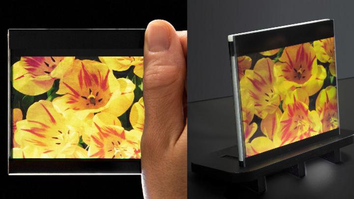 OLCD mit hiter die aktive Display-Fläche gefaltetem Rahmen.