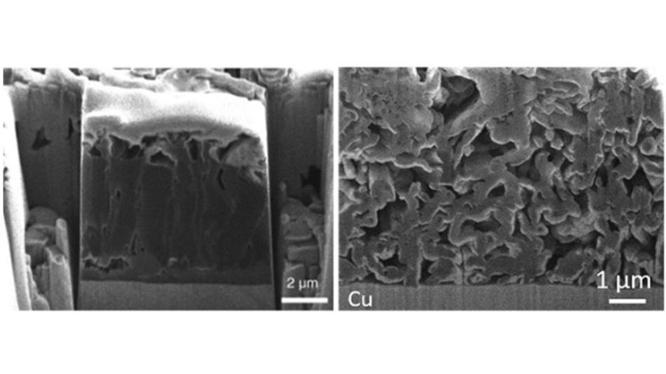 REM-Aufnahmen von Querschnitten von Lithiumablagerungen, die je nach Art des verwendeten Elektrolyten in ihrer Struktur variieren. Die säulenartige Mikrostruktur (links) führt zu einer hohen coulombschen Effizienz, während die poröse, gewundene, whiskerartige Mikrostruktur (rechts) die coulombsche Effizienz verringert.