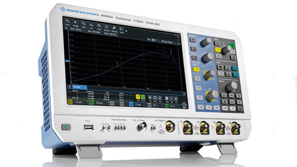 """Bild 1. Das R&S RTM3000 ist als Universalwerkzeug für den Entwickler konzipiert: 10,1"""" Touchscreen, 10-bit-A/D-Umsetzer, Tastkopfschnittstelle für alle R&S-Tastköpfe und eine Option zur Analyse des Frequenzgangs mit Bode-Diagramm (RTM-K36)."""