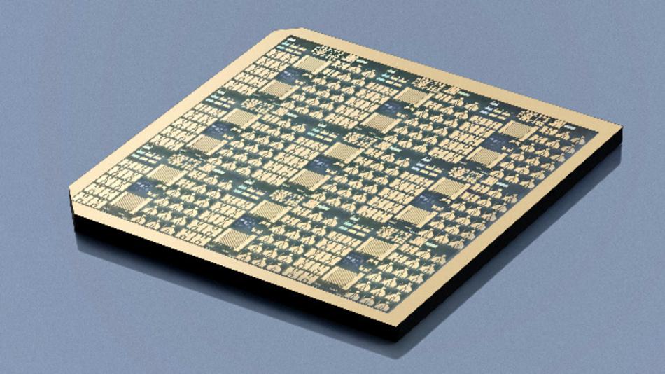 Galliumoxid-Chip mit Transistor- und Messstrukturen, hergestellt am FBH mittels Projektionsbelichtung.