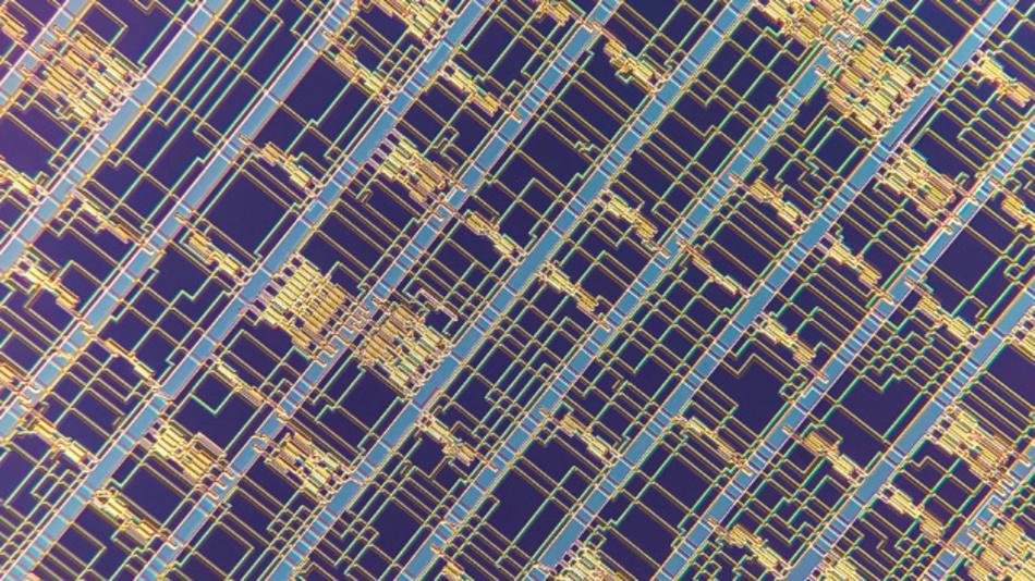 Detailaufnahme des Prozessors auf Basis von Carbon-Nanotube-FETs.