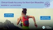 Neu bei Maxim: Der In-Ear-Herzfrequenzmesser MAXM86161 für kontinuierliche Herzfrequenz- und Sauerstoffsättigungsmessungen und der digitale Temperatursensor MAX30208.