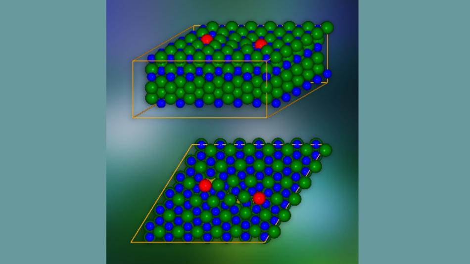 Kristallmodell von Siliziumkarbid mit Stufenversetzungen an rot markierten Stellen. Eine einzige kristallografische Ebene ist unten dargestellt. Die Stellen, an denen elektrische Ladungen in benachbarte Schichten gelangen können, sind gelb markiert.