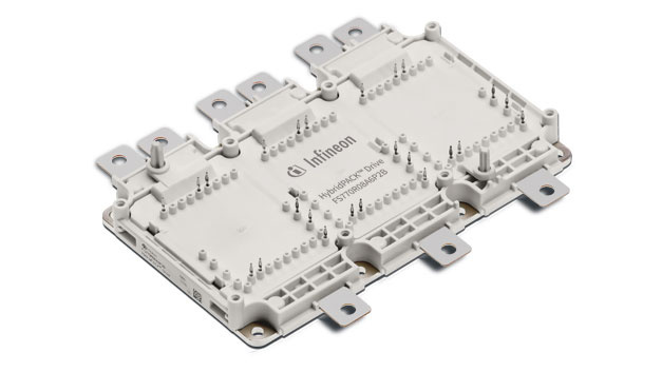 Bild 1. Typisches Modul der HybridPACK Drive-Familie – hier das FS770R08A6P2B Drive Wave. Alle Si-IGBT-Familienmitglieder haben die gleiche Gehäuseoberfläche.