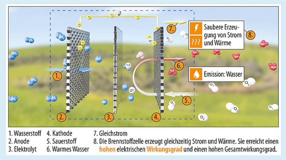 Bild 1. Funktionsweise einer Brennstoffzelle