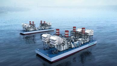 Zwei schwimmende SeaFloat-Kraftwerke, die mit jeweils  vier SGT-A65 Gasturbinen ausgestattet sind.