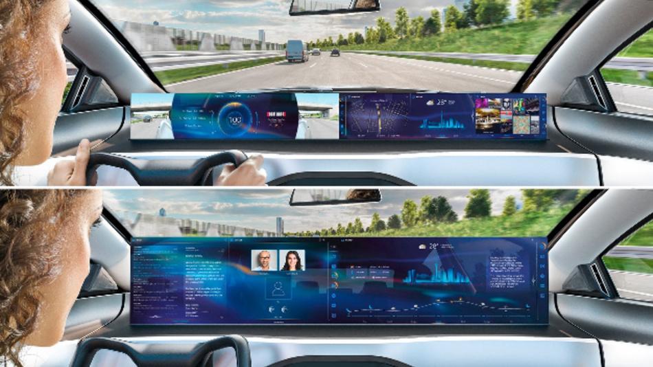 Die Integrated Interior Plattform bildet die Basis für die Mensch-Maschine Interaktion der Zukunft: Je nach Fahrmodus wird das Cockpit entweder zum Kombiinstrument (oben) oder zum großflächigen Display (unten).