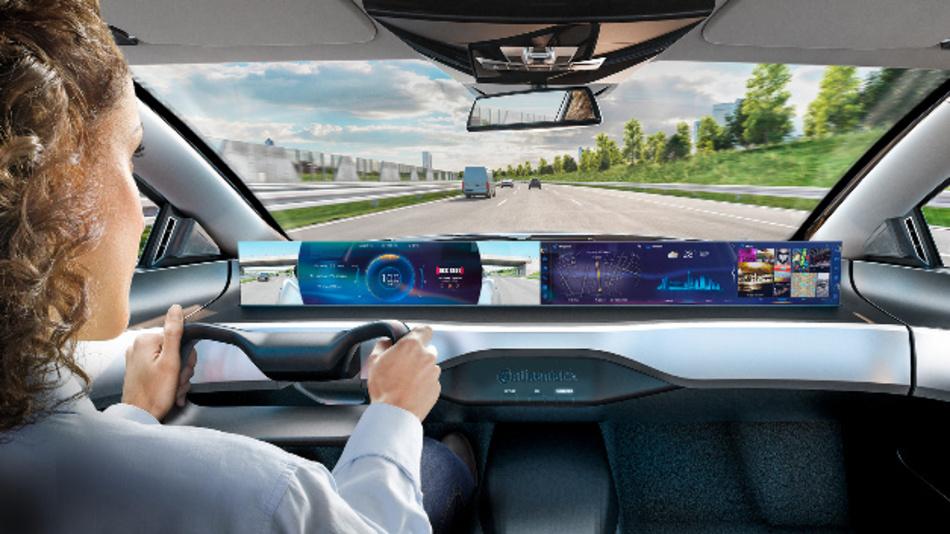 Im manuellen Modus werden dem Fahrer wichtige Fahrinformationen angezeigt, während der Beifahrer beispielsweise einen Film ansehen kann.