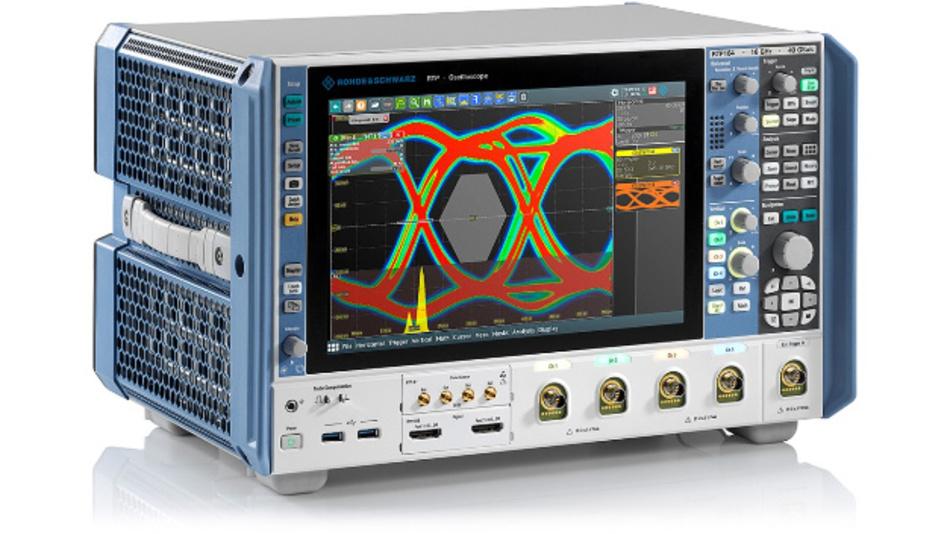 R&S RTP-164 mit 16 GHz und vier Kanälen. Zu den neuen Messoptionen gehört ein Mathematik-Modul zur Fehlersuche in differenziellen Signalen.