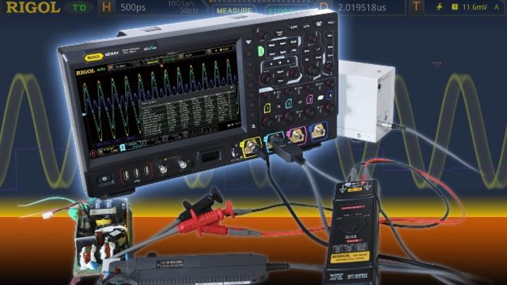 MSO-Ready, bis zu 2 GHz Bandbreite und mit Echtzeit-Augendiagramm: Die MSO8000-Serie von Rigol (hier: Power Analyse).