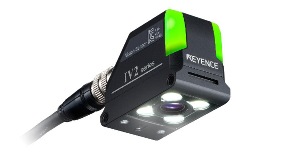 Vision-Sensor der IV2-Serie mit KI-gestützter Fehlerbilderkennung zur Bauteilprüfung.