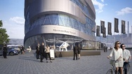 Der Volocopter vor dem Mercedes-Benz-Museum
