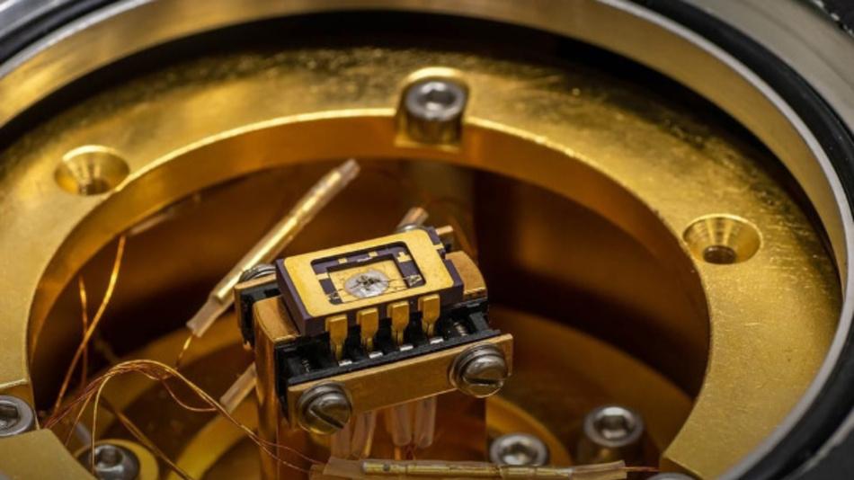 Probe mit Lithiumosmat, das sowohl ein Metall als ist auch ferroelektrische Eigenschaften besitzt.