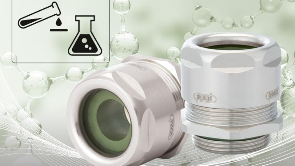 Säuren und Basen getrotzt Mit dem jüngsten Mitglied der VariaPro-Familie wendet sich Hummel an die Prozessindustrie. Die Kabelverschraubung VariaPro FKM ist konzipiert für Anwendungen in der Chemie, der Pharmaindustrie oder der Biotechnologie. Sie ist besonders beständig gegen Säuren und Chemikalien. Dabei geht es konkret um aromatische und chlorierte Kohlenwasserstoffe, um Mineralöl und Benzin, aber auch um Sauerstoff, Ozon oder Wasserdampf. Bei den Kabelverschraubungen verwendet Hummel Dichteinsätze aus Fluorkautschuk (FKM). Konzipiert sind sie für einen Temperaturbereich von –20°C bis +180°C. Das Gerät mit der Schutzart IP68 ist staub- und wasserdicht bis 10bar. Das Gehäuse besteht aus vernickeltem Messing. Zunächst ist die Kabelverschraubung, in die die EMV-Anbindung bereits integriert ist, in den Baugrößen M20, M25, M32 und M40 verfügbar. Durch die intelligente Verknüpfung von Dichteinsätzen und Reduzierstücken kann VariaPro FKM Kabel in den Durchmessern von 7 bis 32Millimetern aufnehmen. Hummel, www.hummel.com, info@hummel.com, Tel.: +49 (0) 7666 911100