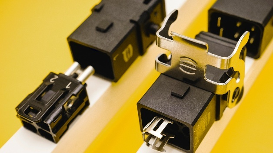 Klein, leicht und flexibel: Über Han 1A lassen sich kleine und mittlere Verbraucher wie Antriebe und Sensoren leicht und effizient versorgen. Anwender sparen im Vergleich zu herkömmlichen Industriesteckverbindern 30 Prozent Bauraum ein.