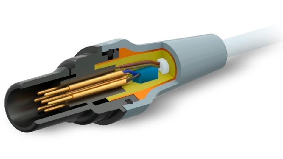 Im Inneren des Steckverbinders und versiegelt im Gehäuse befindet sich der Mikrochip. Durch einen zusätzlichen Pin ist die Kommunikation mit und vom Stecker möglich.
