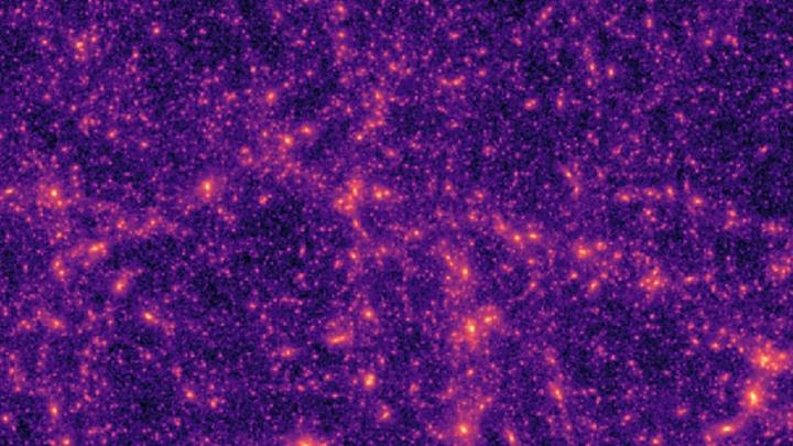 Eine typische computergenerierte Massenkarte der dunklen Materie, wie sie von den Forschen zum Trainieren des neuronalen Netzwerks benutzt wird.