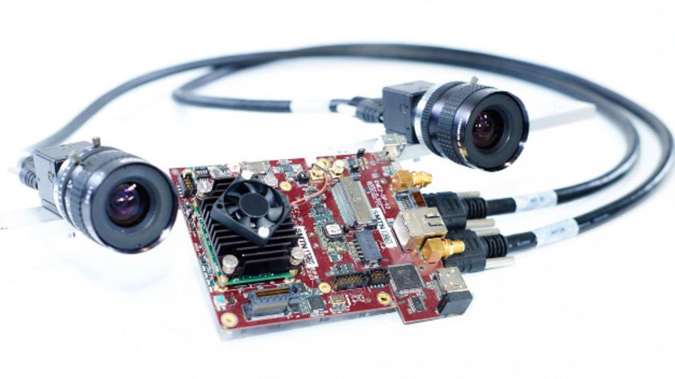 Die Stereokamera und das eingebettete System aus der Drohne.