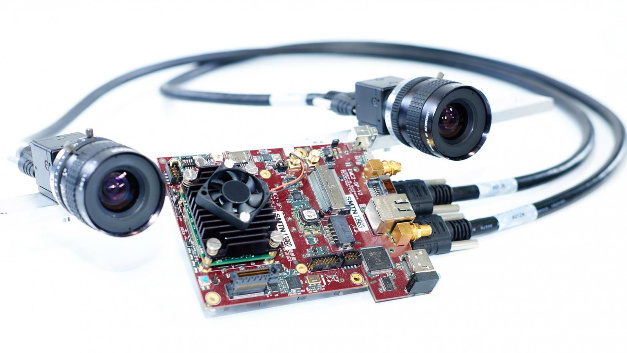 The stereo camera and the embedded system of the drone.