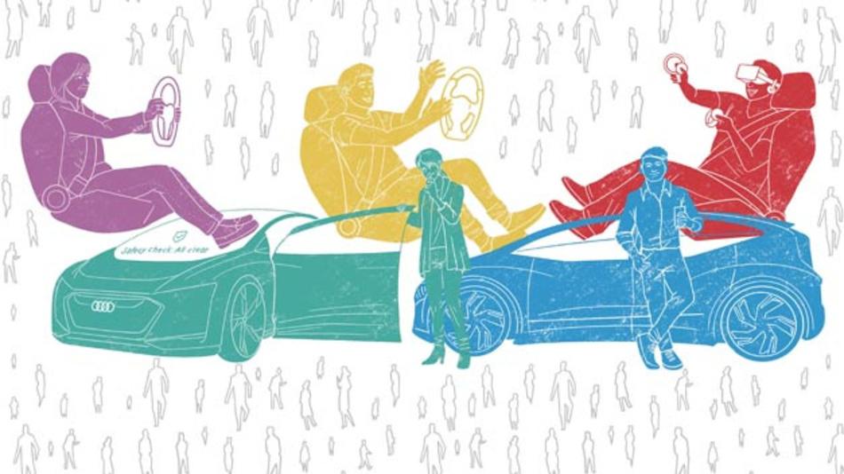 Vom misstrauischen Selbstfahrer bis zum technikaffinen Passagier: In der Online-Studie »The Pulse of Autonomous Driving« hat Audi eine Nutzertypologie zum autonomen Fahren erstellt.