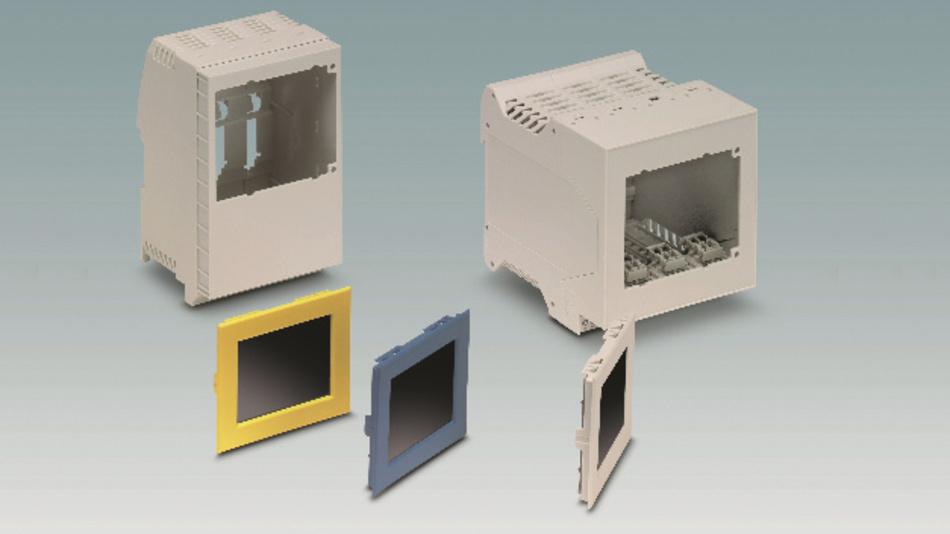 Bild 2: Plug & Play: Das 2,4 Zoll große TFT-LCD-Display von Phoenix Contact lässt sich leicht in die Gehäuse ME und ME-IO einrasten – Farbvarianten des Rahmens dienen der Individualisierung.