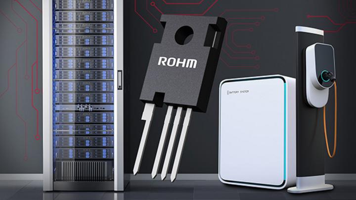 Das neue SiC-MOSFETs im 4-Pin TO-247-4L-Gehäuse von Rohm mit verschiedenen Einsatzorten: Schaltschrank, Netzteil, Ladesäule..