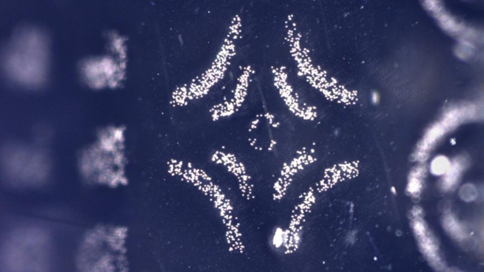 Das Muster wurde aus Siliziumdioxid-Partikeln von einer Pick-and-Place-Maschine zusammengesetzt, die dazu den elektrostatischen Stempel auf Basis von CNTs des MIT benutzte. Die Partikel haben einen Durchmesser von nur 5 µm.