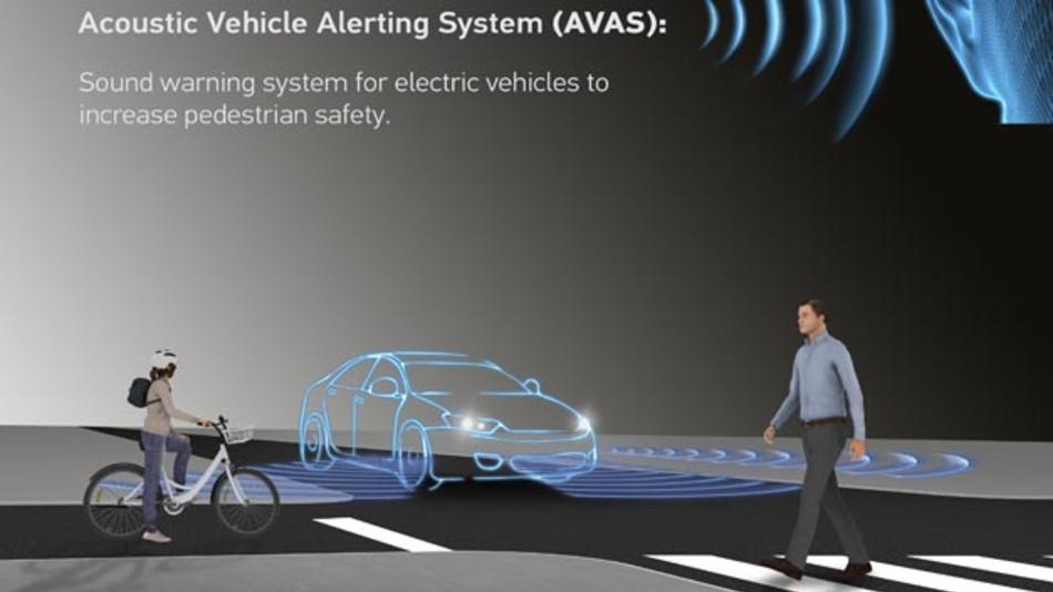 Bei Geschwindigkeiten unter 20 km/h simuliert das Warnsystem AVAS von Hella ein Geräusch, dessen Intensität sich mit zunehmender Geschwindigkeit erhöht.