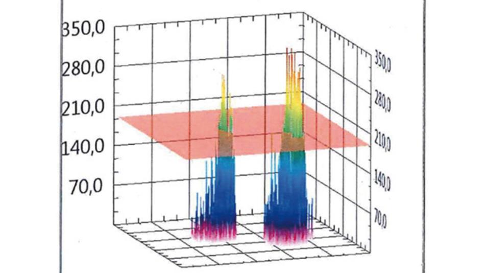 Bild 2: Über eine Auswerte-Software lassen sich Druckverteilung und Druck-Spitzenwerte einer Messung grafisch darstellen.