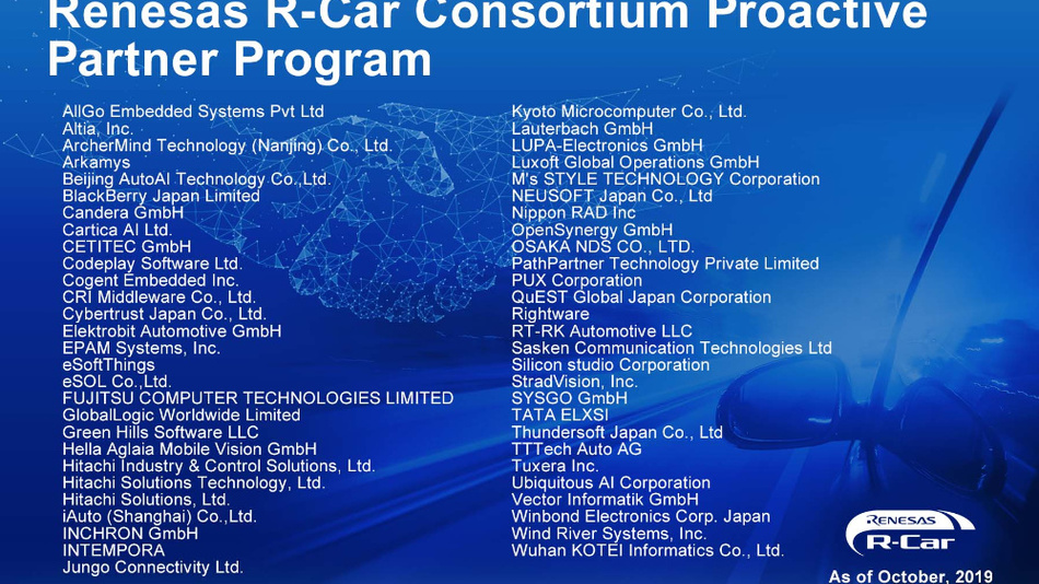 Die 55 Partnerunternehmen im Proactive-Partnerprogramm von Renesas.