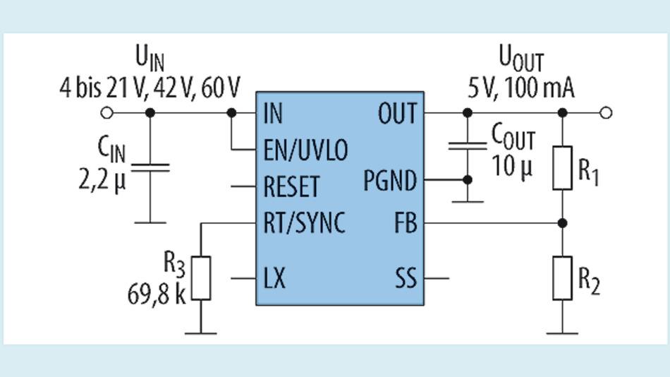 Bild 7. Typisches Anwendungsschaltbild mit dem Bauteil MAXM17532/MAXM17552.