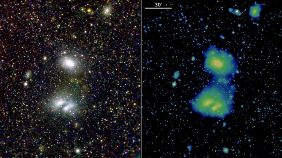 Diese beiden eRosita-Bilder zeigen die wechselwirkenden Galaxienhaufen A3391 und A3395 und demonstrieren die Sicht des Teleskops auf das ferne Universum.