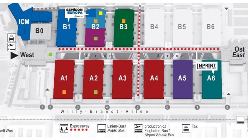 Der Eingang West wird zur productronica 2019 und SEMICON Europa 2019 offen sein. Der Eingang Ost wird für die productronica 2019 und die Parallelveranstaltung InPrint 2019 genutzt.