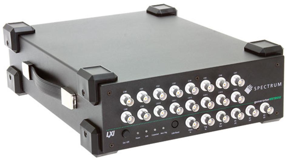 Bild 1. Das maximal ausgebaute Modell DN2.656-16 bietet 16 synchrone AWG-Ausgänge, die Signale mit bis zu 80 MS/s parallel ausgeben. Bei Nutzung von nur acht Kanälen steigt die Ausgaberate auf 125 MS/s.