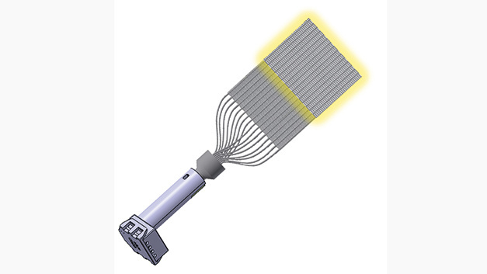 Ein textiles Lichtsystem besteht aus (1) RGB-LED-Modul mit Mischelement, (2) Einkoppelelement, (3) Gewebeeinlauf, (4) aktivierter Fasermatte und (5) nicht aktivierter Fasermatte. Hohe Effizienz wird nur bei Entwicklung als Gesamtsystem erreicht.