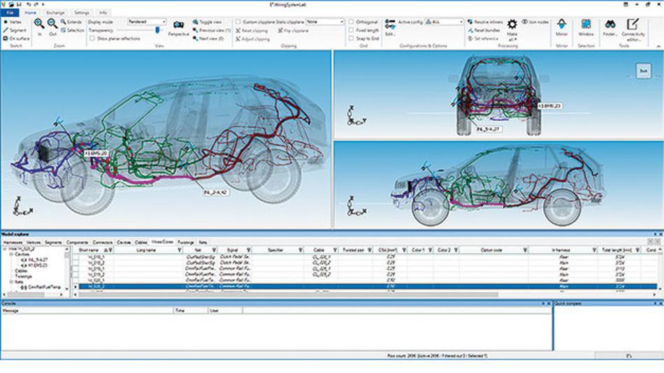 Bild 2. Mit E3.WiringSystemLab können Geometrie- und Verbindungsinformationen importiert und zu einem Referenz-Design zusammengeführt werden, in dem Optimierungsideen eingebracht und bewertet werden können.