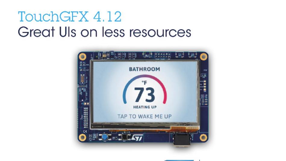 STMicroelectronics aktualisiert die TouchGFX Suite zur Verbesserung von Benutzeroberflächen und zur Senkung von Speicherbedarf und CPU-Auslastung in STM32-Mikrocontrollern.