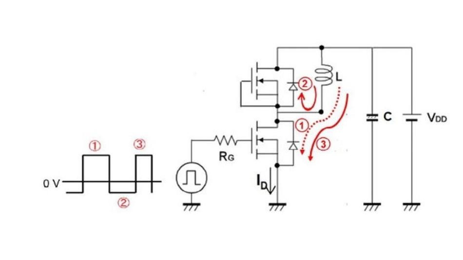 Abbildung 5. Der Strom folgt den angegebenen Richtungspfeilen - mit MOSFETs als DUTs.