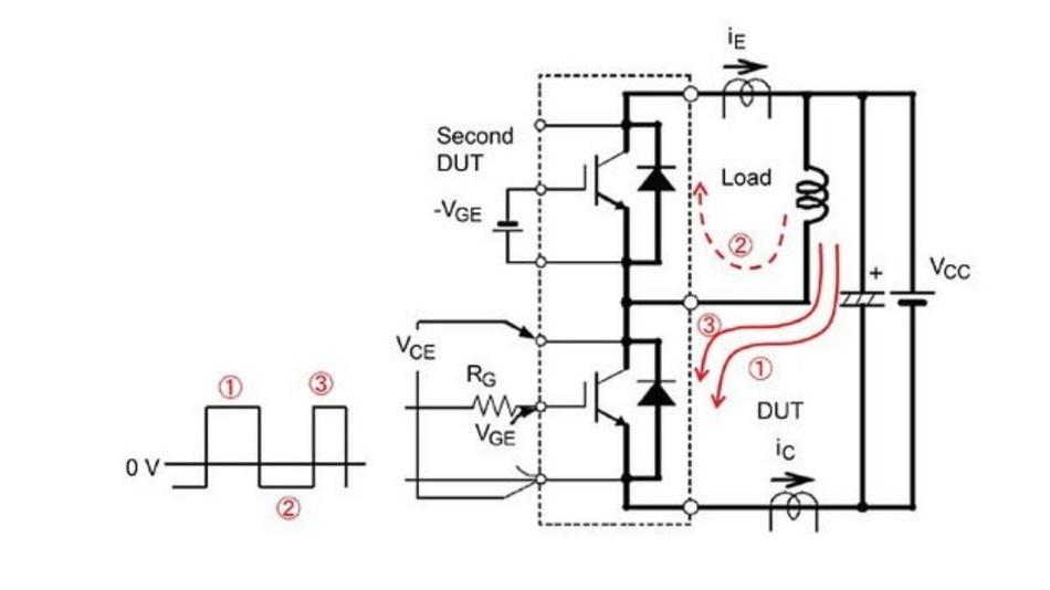 Abbildung 6. Der Strom folgt den angegebenen Richtungspfeilen - mit IGBTs als DUTs.