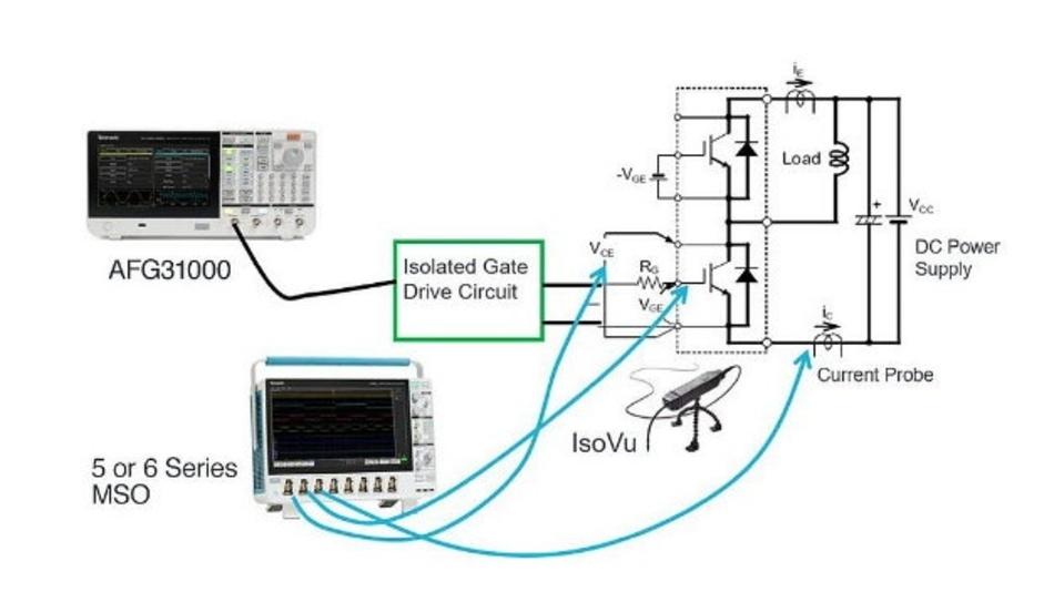 Abbildung 8: Der Doppelpulstest basiert auf einem AFG, der mit einem isolierten Gate-Treiber verbunden ist und zwei Spannungsimpulse mit unterschiedlichen Impulsbreiten erzeugen kann.