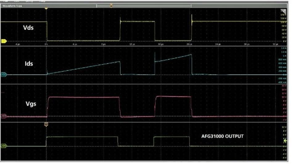 Abbildung 12: Betrachtet man die Signalformen, so ist das Überschwingen des Stromes Ids auf die Reverse-Recovery der Freilaufdiode aus dem High-Side MOSFET/IGBT zurückzuführen.