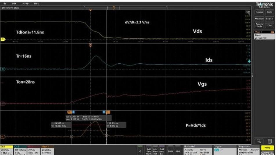 Abbildung 14: Diese Signalformen wurden auf dem Oszilloskop für die Einschaltparameter erfasst.