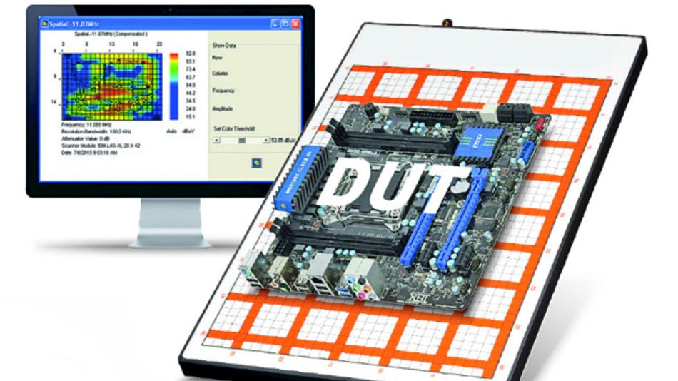 2D-EMV-Scanner: Die Auflage besteht aus einer Matrix aus Spulen.