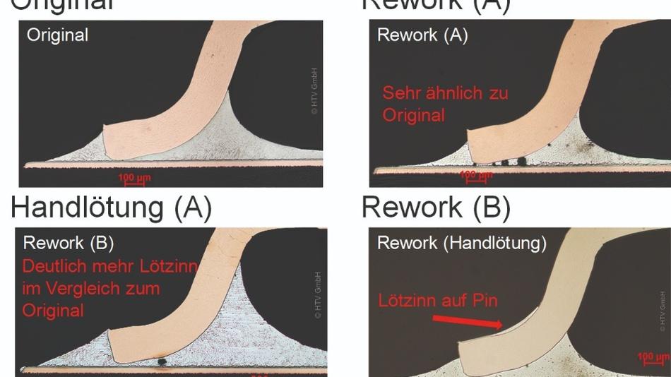 Bild 1: Schliffbild durch die Lötstellen der SOP-Bauteile.