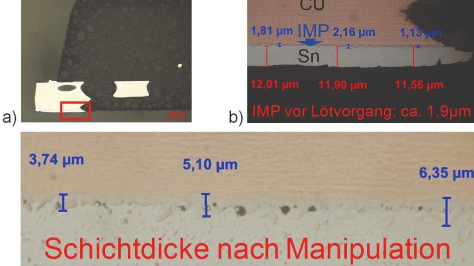 Bild 4: Vermessung der intermetallischen Phase zwischen dem Kupfer des Trägermaterials und der Zinnbeschichtung am Rand eines QFN-Kontaktes: a) Schliffbild durch QFN-Kontakt; b) IMP vor der Manipulation; c) IMP nach Manipulation