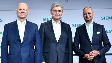 CFO Ralf P. Thomas, CEO Joe Kaeser unnd Michael Sen (CEO Siemens Energy) auf der Jahrespressekonferenz 2019 von Siemens
