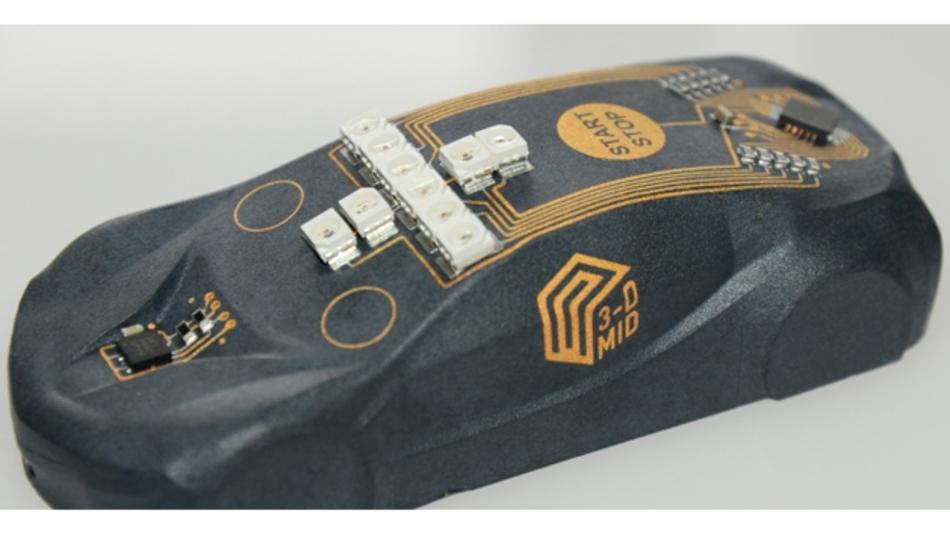 MID-Demonstrator in Form eines Automodells, gefertigt per Laserdirektstrukturierung (LDS).