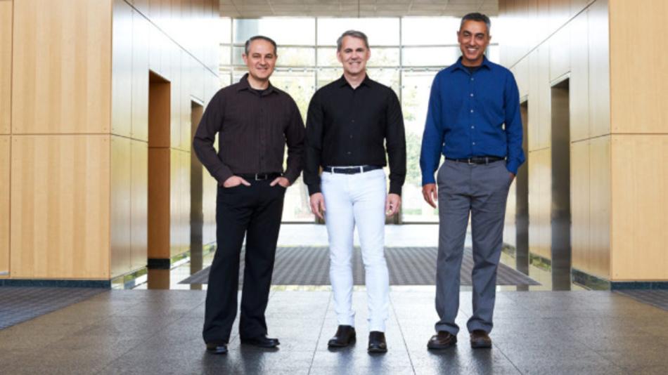 Die drei Gründer von NUVIA (v.l.n.r.): John Bruno, Gerard Williams III und Manu Gulati in der neuen Firmenzentrale in Santa Clara, Kalifornien.