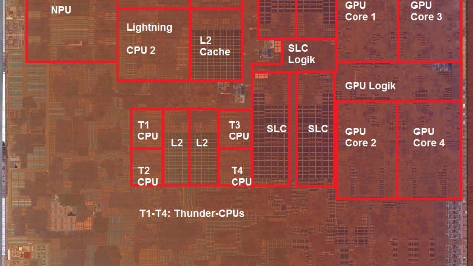 Bild 4: Aufnahme des Silizium-Plättchens des Apple-A13.